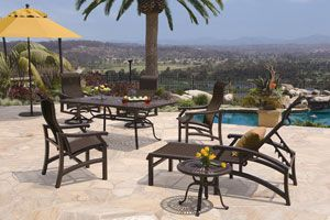 Several appealing features of the Mondovi Collection are the broad sweeping lines of the frame, with custom-designed base used on the swivel action loungers. http://www.intheswim.com/Backyard-and-Home/Dining-Sets/Mondovi-Sling-Collection/