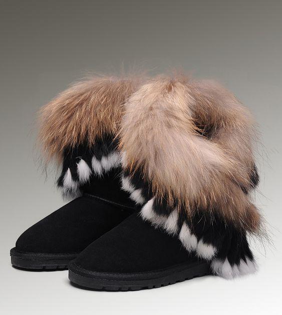 Ugg short fox fur 8288 black boots fox fur pinterest for Ugg fourrure exterieur