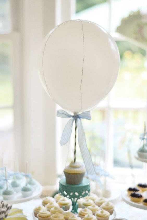 Hot air balloon dessert table baby shower hostess