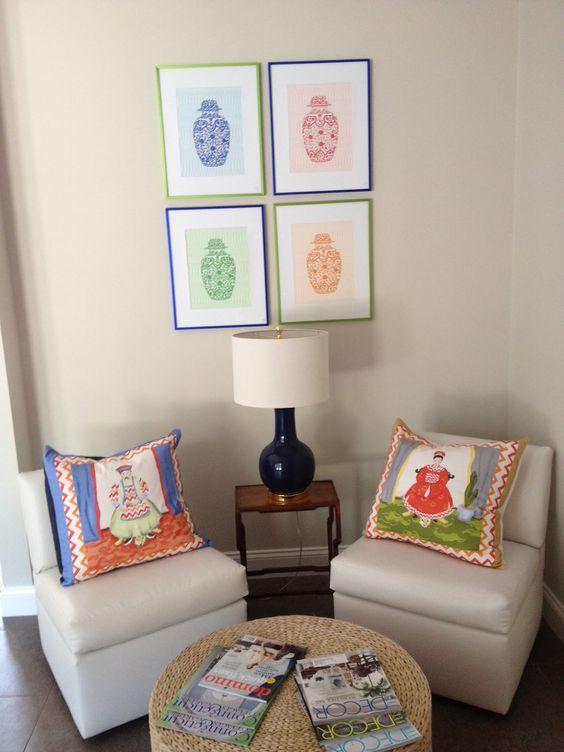 I want those ancestor pillows (Hannah Childs Interior Design).