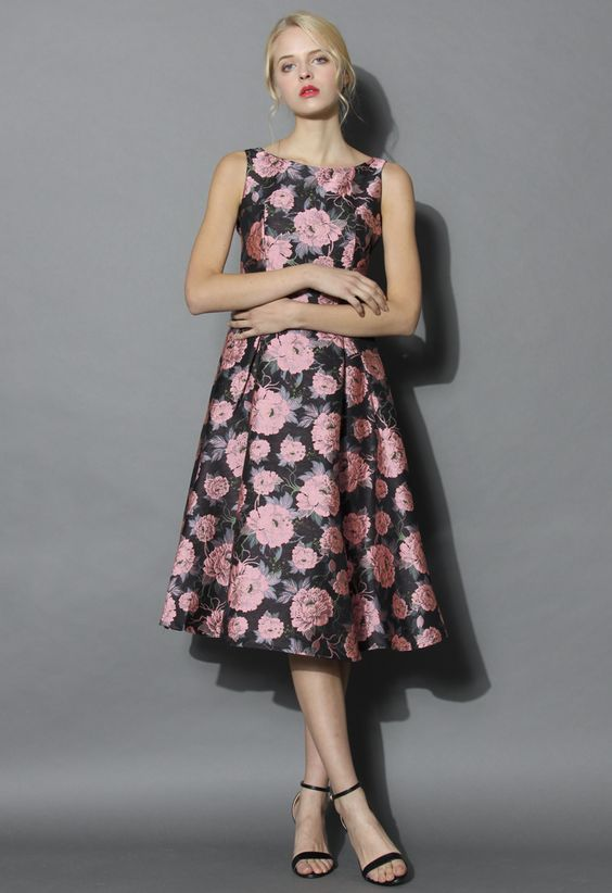Floral Seminar Jacquard Prom Dress - Floral - Dress - Retro, Indie and Unique Fashion