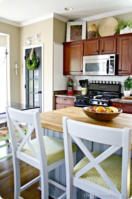 bright kitchen, wood cabinets