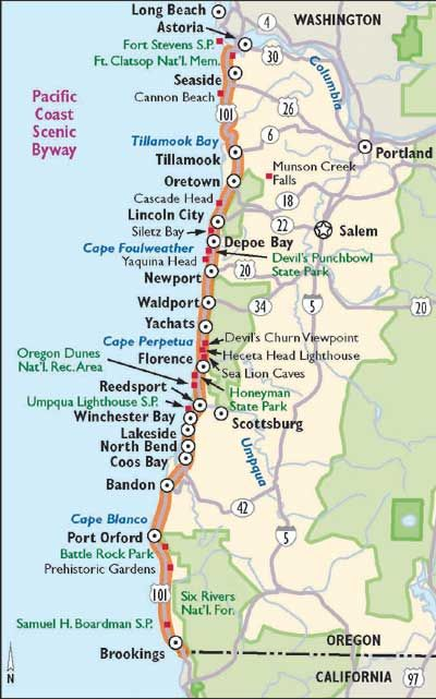 View Enlarged Image This map outlines what you'll see along the Pacific Coast Scenic Byway.
