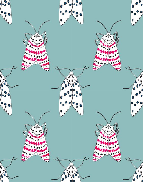 What's not to love about these moths by Kelly Massey blue red black