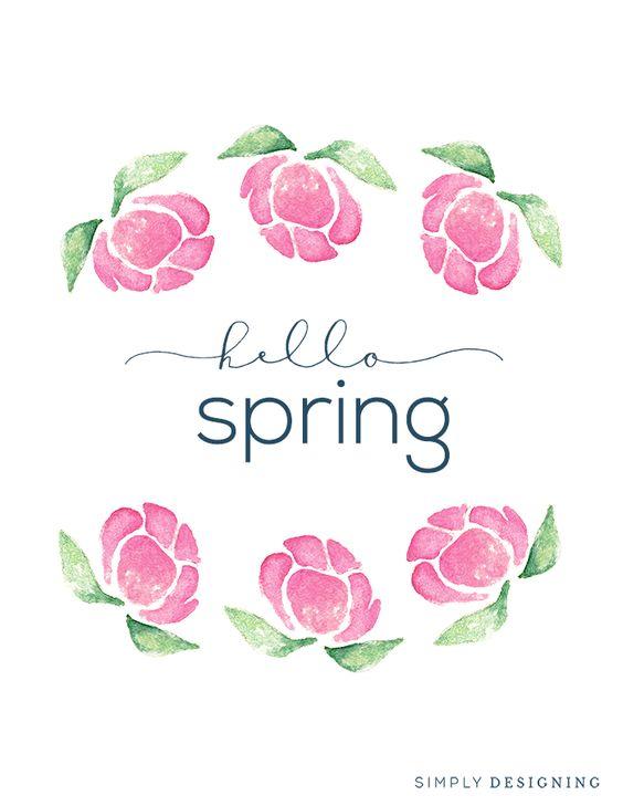 "Free ""Hello Spring"" Printable Design via Live Craft Love"