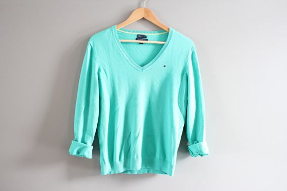 Tommy Hilfiger Sweater Teal Green Cotton Sweater by Amilialia