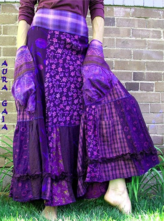 AuraGaia ~ Passion ~ BoHo Bustleback OverDye Upcycled Raw Tattered SKIRT AuraGaia S-1X Plus: