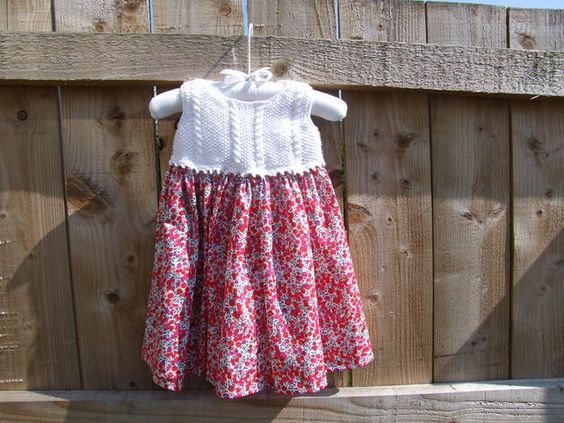 Liberty print and hand knitted girl's dress