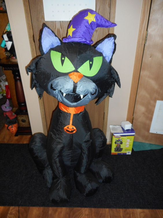 gemmy halloween airblown inflatable black cat 4ft tall ebay - Www Gemmy Com Halloween