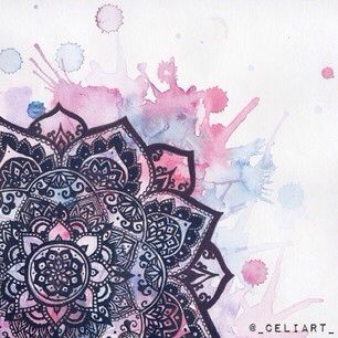 Watercolour mandala Would love a back tattoo similar. Maybe with the colors popping more though.