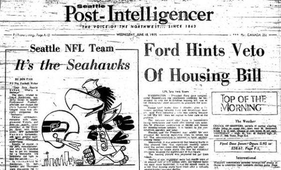 The Seahawks name was announced on June 17, 1975 after a fan contest soliciting name suggestions. Mariners was one of the five finalists, but a telephone call between team owners and NFL Commissioner Pete Rozelle helped select the name Seahawks. (seattlepi.com file)