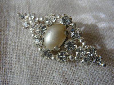 Elegancka broszka perły kryształki ART DECO J2