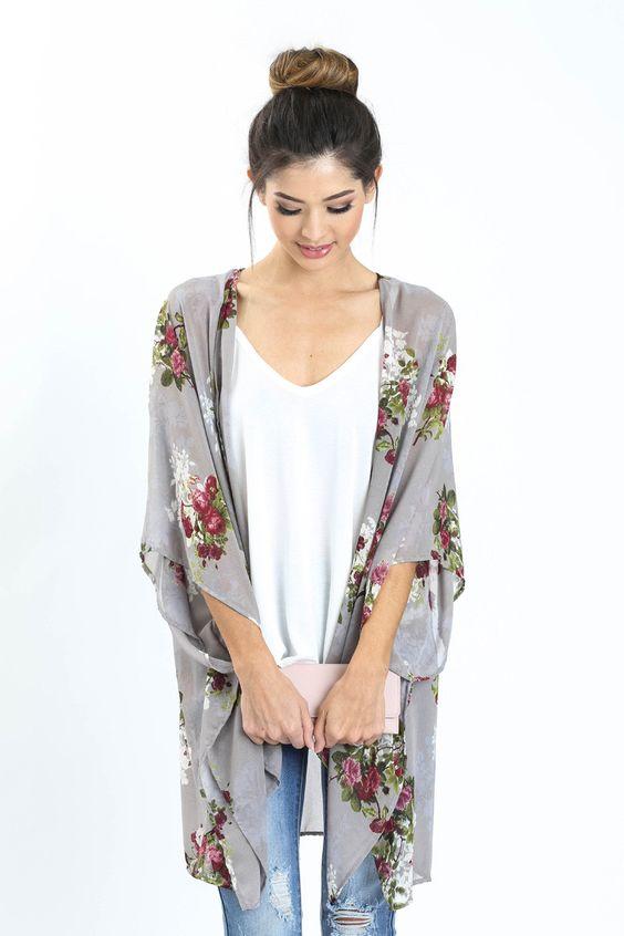 Sarah Lavender Floral Kimono - Morning Lavender $48.99: