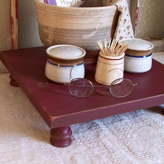 Primitive Square Table Riser Bench Farmhouse Centerpiece Burgundy Simplify Collection on Etsy, $25.00