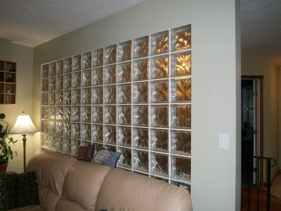 Glass block wall in the former family home pretty - Glass block windows in living room ...