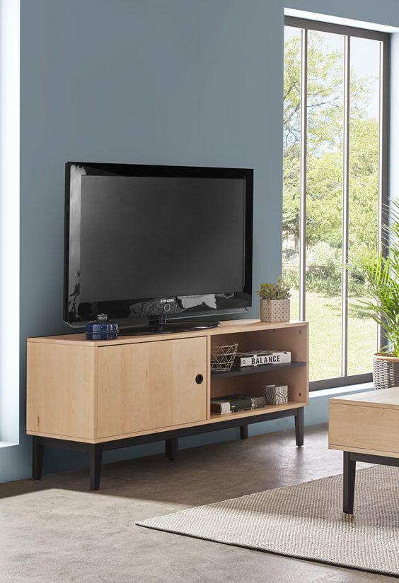 Interior Design Meuble Tv Blanc Et Bois Bien Choisir Couleur Son Meuble Tv But Blanc Et Bois Chaise Transparente Panneau Mural Decorat Flat Screen Flatscreen Tv