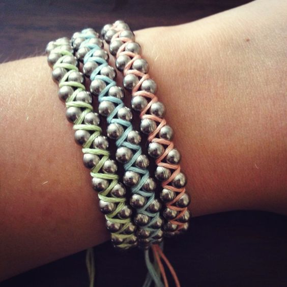 Ball chain embroidery floss bracelet would like to try