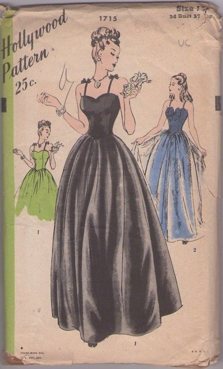 Hollywood 1715 Vintage 30's Sewing Pattern Drop Dead GORGEOUS Sweetheart Basque Waist Bodice with Bow & Straps, Full Skirt Ball Gown, Evening Dress, Wedding & Party, Sheer Overskirt #MOMSPatterns
