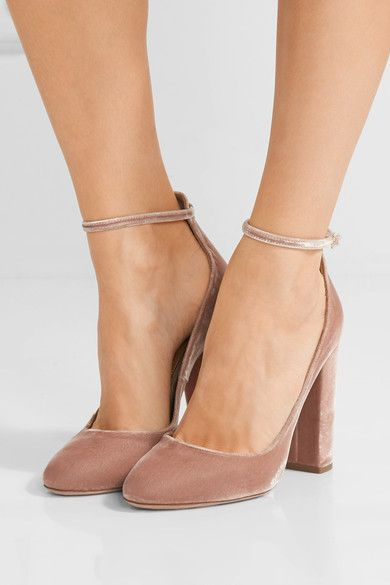 Heel measures approximately 105mm/ 4 inches Blush velvet Buckle-fastening ankle strap Come with dust bag Made in Italy Small to size. See Size & Fit notes.
