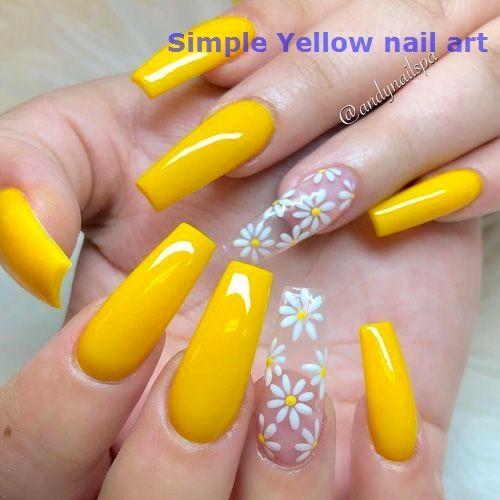 23 Great Yellow Nail Art Designs 2020 Yellownailart In 2020 Cute Summer Nails Sunflower Nails Spring Nails