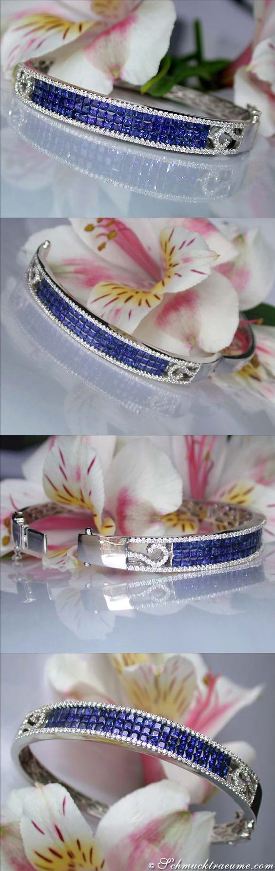 Fabulous Sapphire Diamond Bangle, 5.80 ct. WG-18K - Visit: schmucktraeume.com Like: https://www.facebook.com/pages/Noble-Juwelen/150871984924926