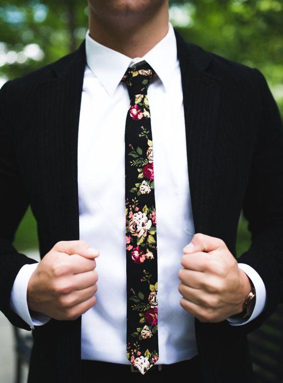 """Black 1 Floral Skinny Tie 2""""   -  floral ties, Floral skinny ties, prom, wedding , gift, Vintage, retro, gifts for him, anniversary, Groom"""