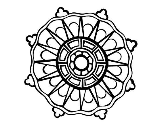 Dibujo De Mandala Con Rayos De Sol Para Colorear