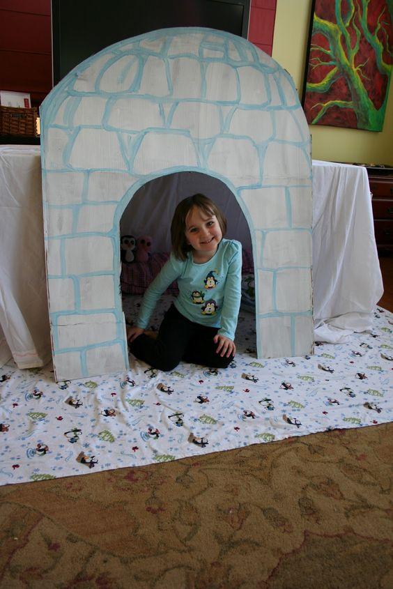 cardboard box igloo | Pink and Green Mama: *Penguin Birthday Party Igloo Fort