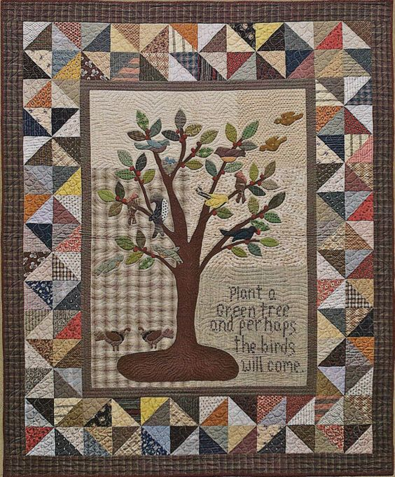 Primitive Folk Art Quilt/Applique/Wool Applique by PrimFolkArtShop Primatives Pinterest ...
