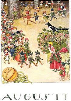 August by Elsa Beskow, Jag älskade vinbärsörhängena när jag var liten. Älskarfortfarande röda vinbär.:
