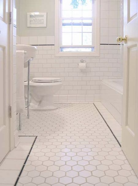 like the floor and walls: White Tile, Subway Tile, Bathroom Idea, Bathroom Floor Tile, White Bathroom, Tile Bathroom, Bathroom Tile, Hex Tile