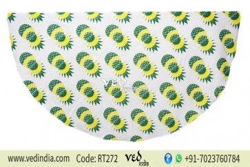 Beautiful Round Mandala Indian Bohemian Pineapple Tapestry Roundie Beach Picnic Throw Towel Rug
