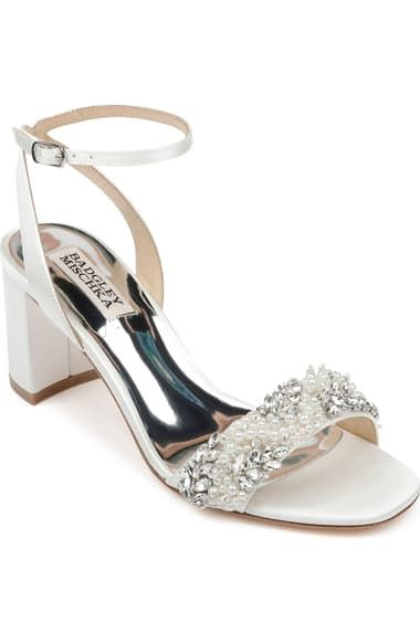 Badgley Mischka Collection Clara Embellished Sandal Women Nordstrom Bridal Shoes Low Heel Embellished Sandals Wedding Shoes Heels