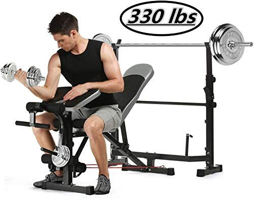 New Kepteen 330lbs Adjustable Olympic Weight Bench With Preacher Curl Leg Developer Multi Functional Weight B Olympic Weights Weight Bench Set Weight Benches