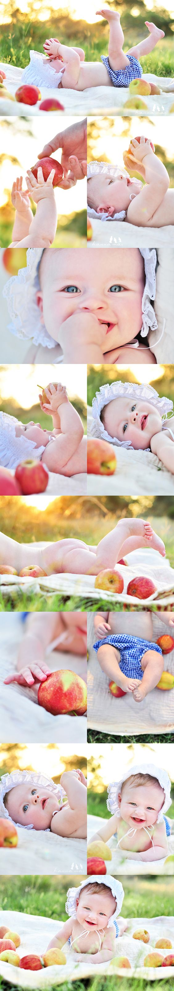 "Cute photoshoot for a baby that can't quite sit up yet.  Switch in peaches for a cute ""Georgia peach"" theme"