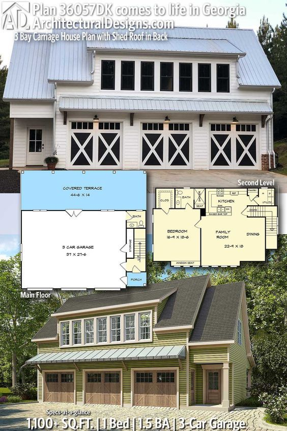 Plan 36057dk 3 Bay Carriage House Plan With Shed Roof In Back Carriage House Plans House Plans Garage Apartment Floor Plans