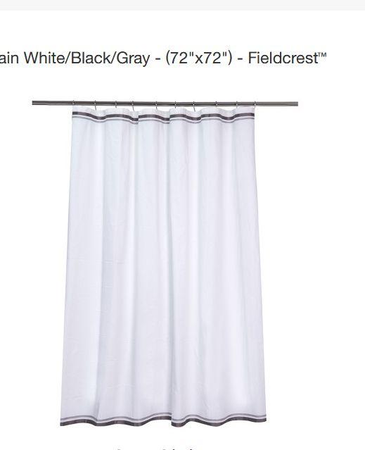 Ribbon Border Shower Curtain White Black Gray Fieldcrest