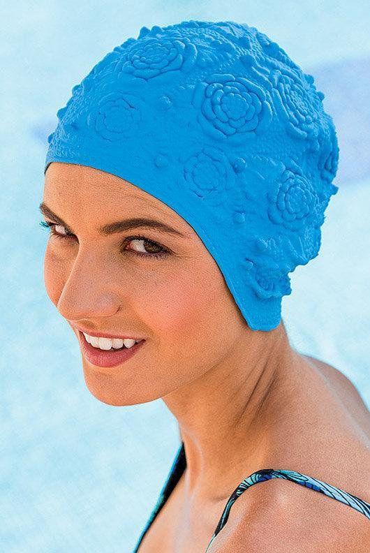 Retro Swim Cap Vintage Style Blue Swimming Hat Cap Bathing Swim Caps Retro Swim Bathing Cap