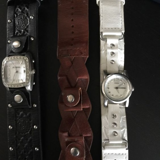 Fossil Watches Two watches. Three bands. Need batteries but like brand new. Wore one once. Fossil Accessories Watches