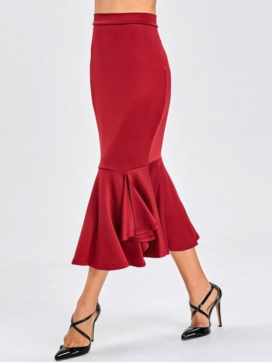 High Waist Mermaid Bodycon Skirt - BURGUNDY S
