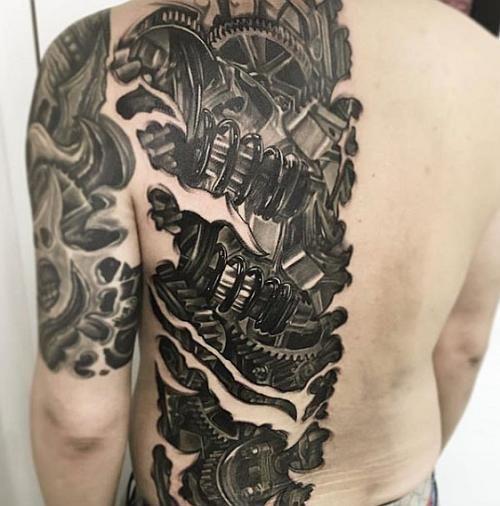 Biomechanical Back Panel Edward Chung Biomechanical Tattoo Biomechanical Tattoo Design Tattoos