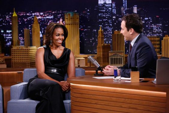 "For this February appearance on ""The Tonight Show"" with Jimmy Fallon, Obama went with a sleeveless jumpsuit, showing off her toned arms."