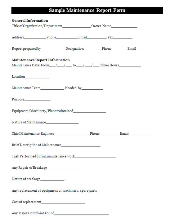 A maintenance report form is a document that is used to keep - Printable Expense Report