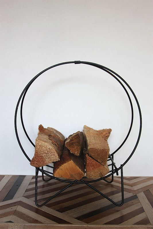 Vintage Iron Firewood Holder plus beautiful wood floor..