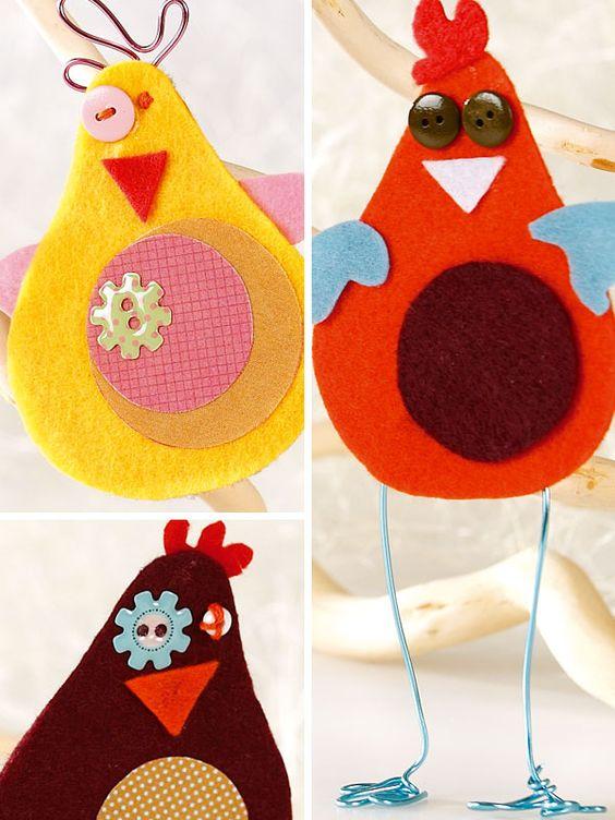 des poules en feutrine pour le pâques bricolages feutrine feutrine