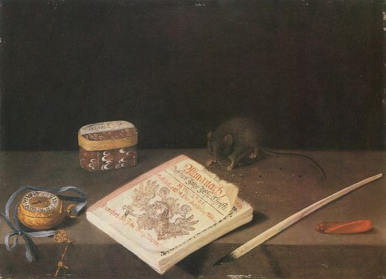 | School of Frankfurt, circa 1671 - A Mouse chewing an Almanac with a Pocket Watch, a Quill, Sealing Wax and a Box on a Ledge |