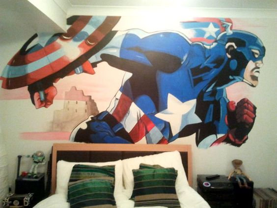 Captain america mural i painted across a bedroom wall for Captain america bedroom ideas