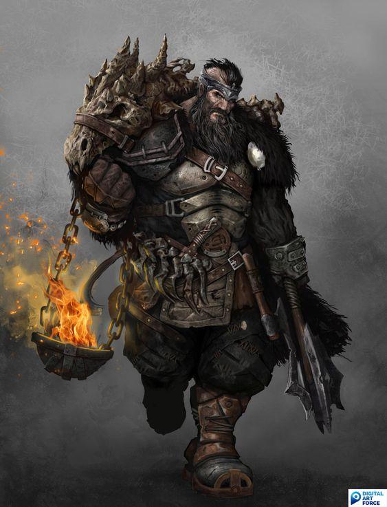 ArtStation - Fantasy Creatures, Marcel Radecký. Brute warrior mace Fire