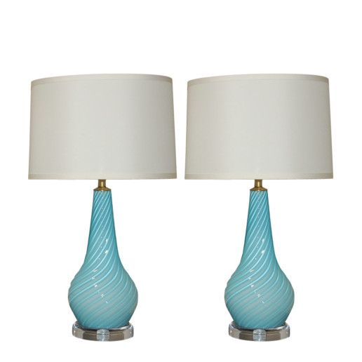 Vintage Murano Glass Table Lamps Sky Blue Swank Lighting Murano Lamp Glass Table Lamp Lamp