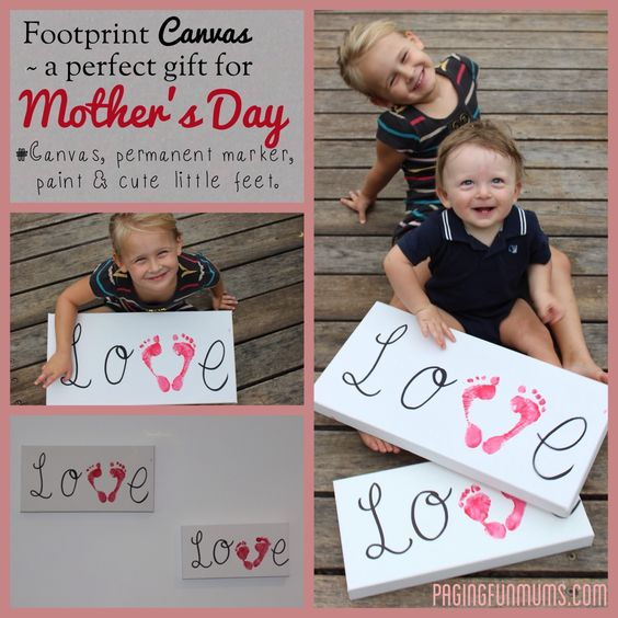 Canvas footprints - perfect gift for Mother's Day and takes less than 5mins to make!